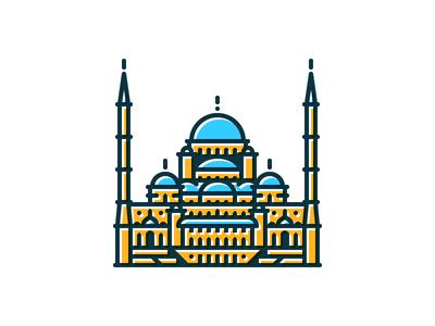 Kocatepe Mosque landmark capital center city icon illustration minimal.modern line basic ankara turkey mosque camii kocatepe building architect