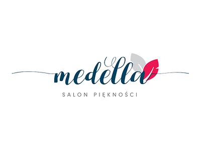 Medella swirls leaves leaf beauty salon brand identity branding brand logotype logo design logo