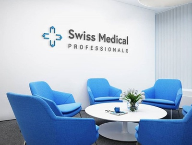 Swiss Medical Professionals logo design cross blue healthcare medical swiss branding logotype logo