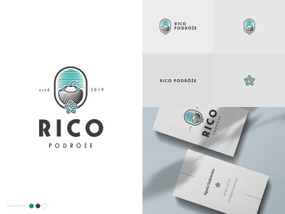 Rico podróże (Rico Travel) flower illustration brand design brand logo design travel coconut logotype branding brand identity logo