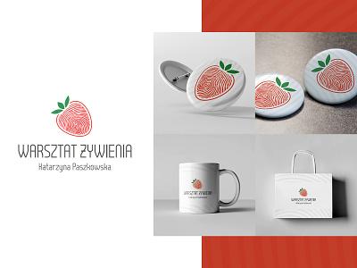 Nutrition workshop logo fingerprint food health fruit logo strawberry brand design brand branding logotype brand identity logo design logo