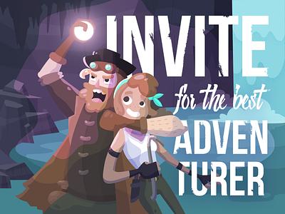 Dribbble invite for the adventurers cave typography pirates adventure treasure illustration