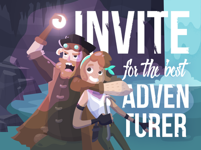 Dribbble invite for the adventurers cave typography pirates adventure treasure illustration