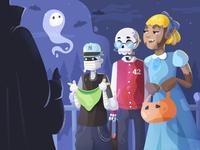 Monster kids on Halloween