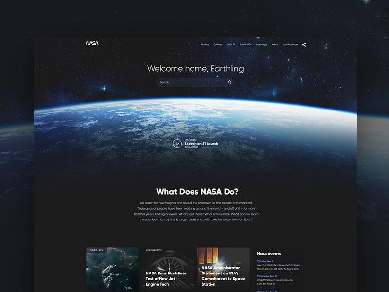 NASA website concept space nasa website interface redesign ui ux dark fireart fireart studio