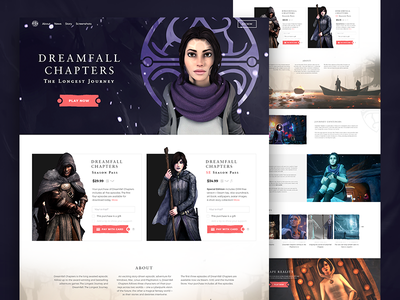 Dreamfall Chapters landing page dreamfall games landing page fireart studio fireart clean ux ui redesign interface website