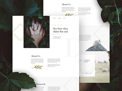 Diamond Landing Page jewelry diamonds website webdesign