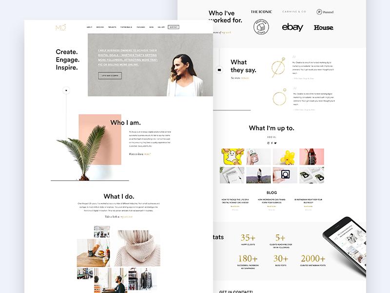 Mo Creative ui clean marketing landing page website webdesign
