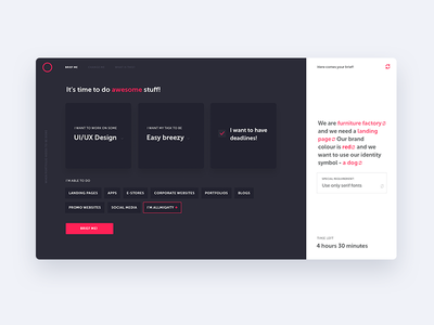 Brief Randomizer Concept design brief concept ux ui webdesign fireart studio fireart