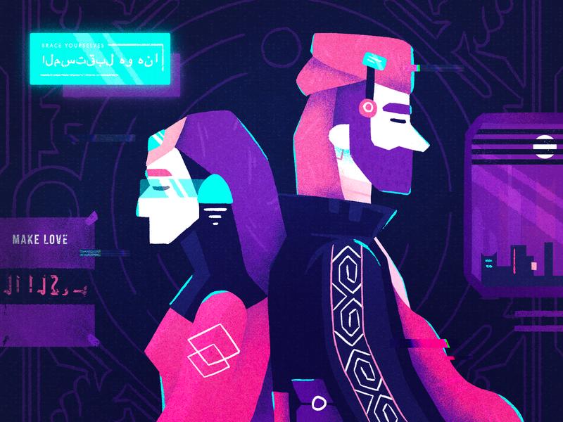 Cyber Yemen arabic digital technology cyberpunk cyber character design illustration character fireart fireart studio