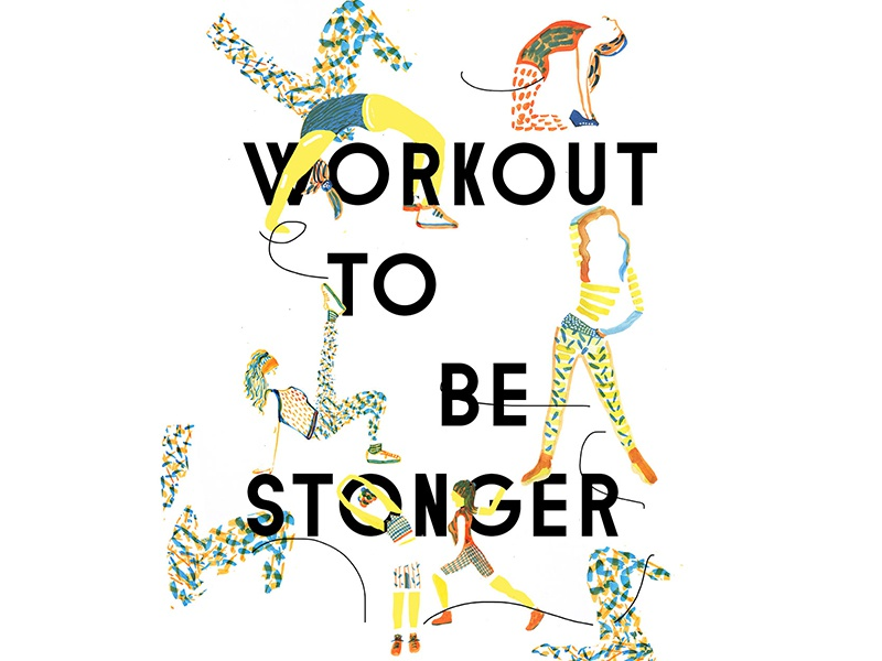 Poster Workout to be stronger exercise pilates yoga strech workout poster girls girl illustration sport
