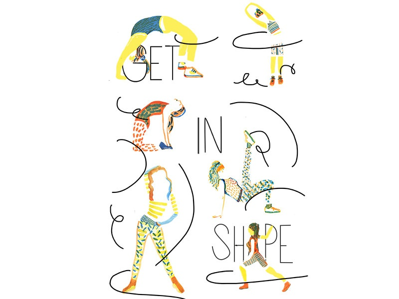 Sporty Poster Lines Small watercolor drawing illustration pilates yoga move shape girls stretch exercise sport