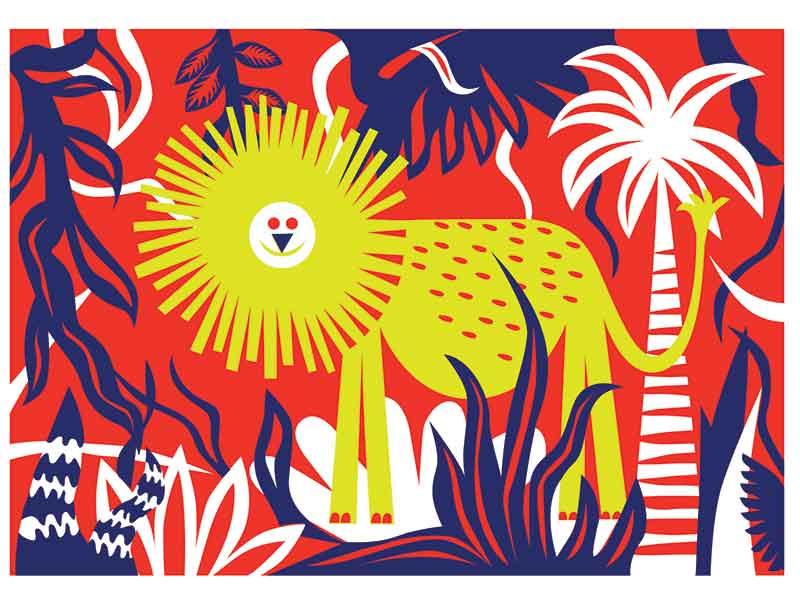 Happy Lion art drawing illustration wild jungle kids children happy animal postcard