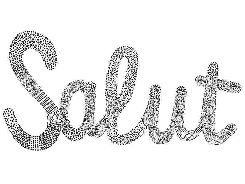 Salut  experimental typography dots french france lettering type salut