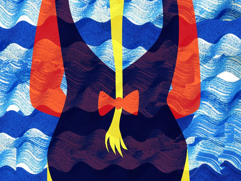 The View  editorial illustration sun holiday vacation waves beach girl