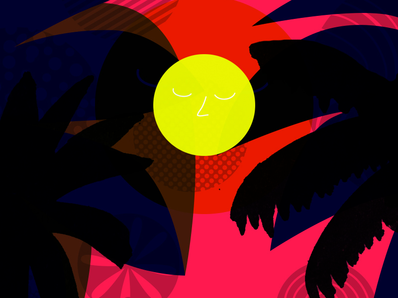 Longest day june drawing sun illustration tropical