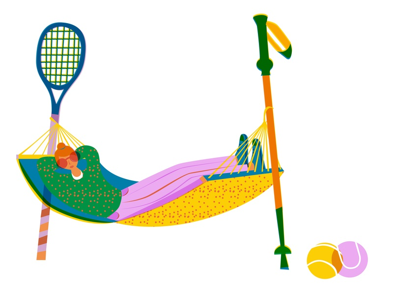 chill after sports design drawing girl sport editorial illustration