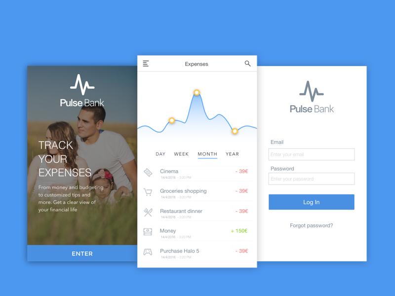 Pulse Bank Screens ux ui bank sketch concept app design app fintech