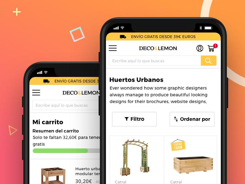 Deco&Lemon Mobile Category and Cart shop modern sketch product garden mobile ux ui magento e-commerce ecommerce