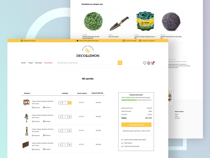 Deco&Lemon - Cart ux ui sketch shop product modern mobile magento garden e-commerce ecommerce