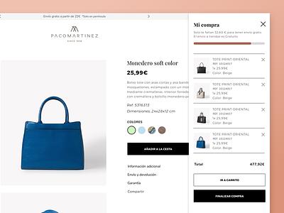Minicart Pacomartinez ux ui sketch shop modern mobile suitcase handbag magento fashion e-commerce ecommerce