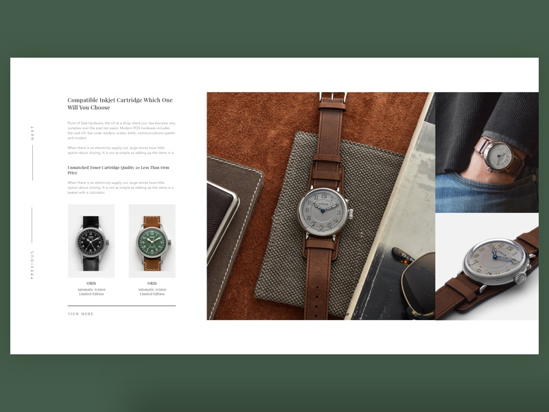 Watch Banner Concept One ux ui watch oris magento e-commerce ecommerce concept