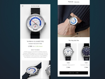 Watch Product Page Mobile sketch magento app ux uidesign watch ecommerce ui