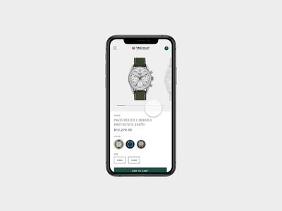 Tag Heuer Store Product Page Concept Mobile watch invision studio design app concept mobile shop modern e-commerce ecommerce ux ui
