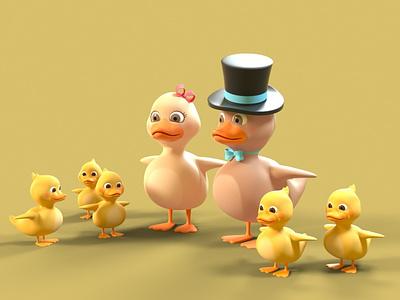 Duck Family - T-Pose 3d character modeling 3d character design 3d character octane render cinema 4d animation 3d model 3d 3d animation 3d modeling