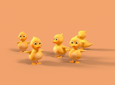 Ducklings - T-Pose 3d character modeling 3d art 3d character 3d character design octane render cinema 4d animation 3d model 3d animation 3d modeling
