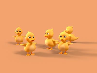 Ducklings - T-Pose 3d character modeling 3d art 3d character 3d character design octane render cinema 4d animation 3d model 3d animation 3d modeling