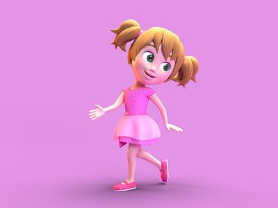Little Girl - 3D Character Design 3d 3d model 3d character design 3d character modeling 3d character octane render cinema 4d animation 3d animation 3d modeling