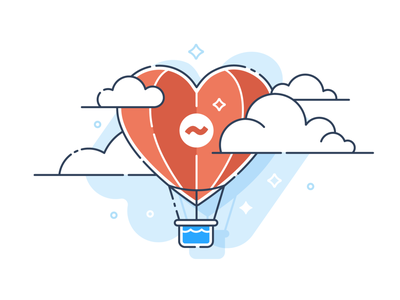 St Valentine's Day hot air balloon hotairballoon love heart sky design corporate icon illustration vector