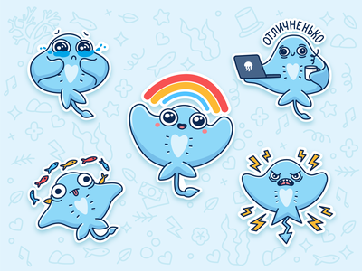 Sticker Pack for Vk.com icon vkontakte cute sticker pack vector sea ray stickers