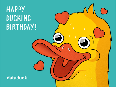 Birthday card for my previous company Dataduck happy card happy birthday duck vector corporate illustration