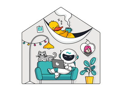 """Work from home"" for Dataduck x Space307 vector corporate illustration house cozy spaceman duck home work from home wfh"