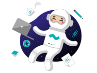 Writer in space