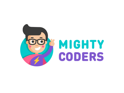 Logo for MightyCoders school coding kids design icon branding logo illustration vector