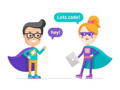 Character illustrations for kids coding school coding superheros school kids vector character illustration