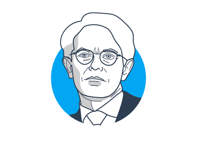 Famous traders series: Peter Lynch design work vector corporate drawing portrait trader illustration icon