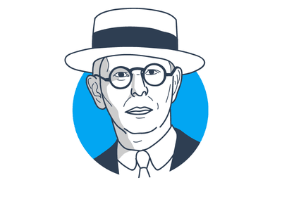 Famous traders portrait series: Jesse Livermore corporate drawing trading trader portrait illustration vector