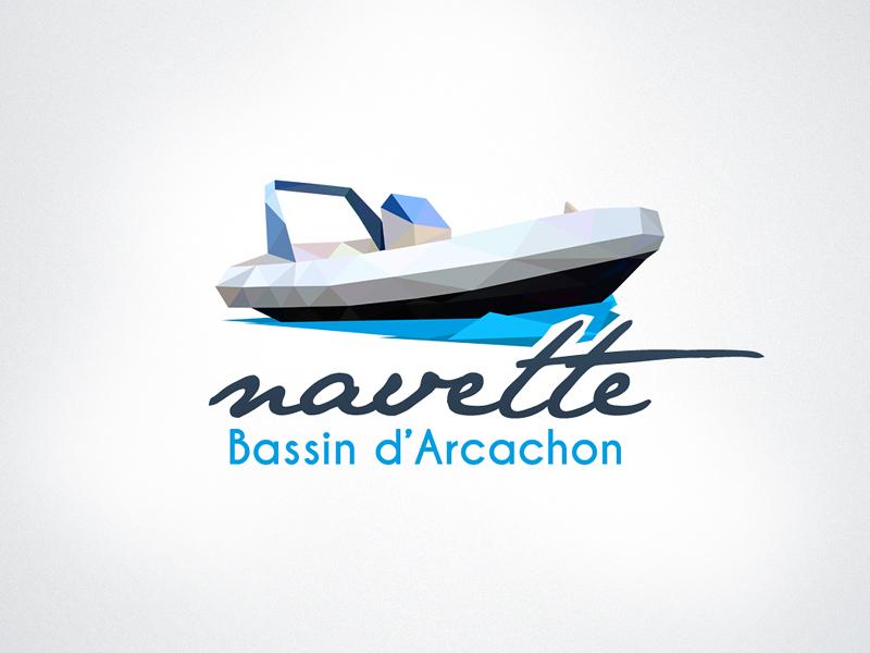 Navette Arcachon Logo logo boat low poly triangulation identity