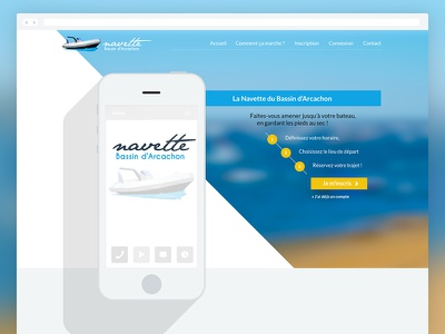 Navette Bassin, Landing page light flat boat responsive webdesign web
