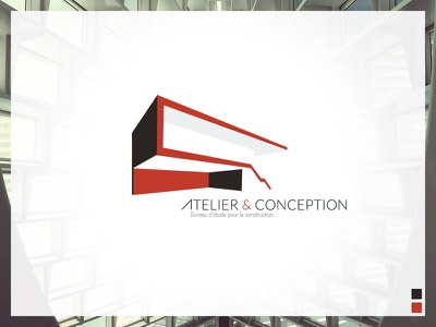 Atelier & Conception logo identity design red grey architect architecture 3d line shape
