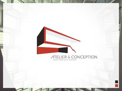 Atelier & Conception logo identity design red grey architect architecture 3d line shape