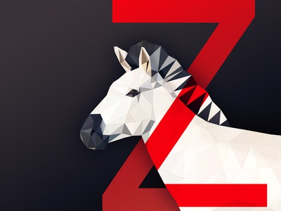 Animal #1 logo identity red 3d low poly poly shape typo