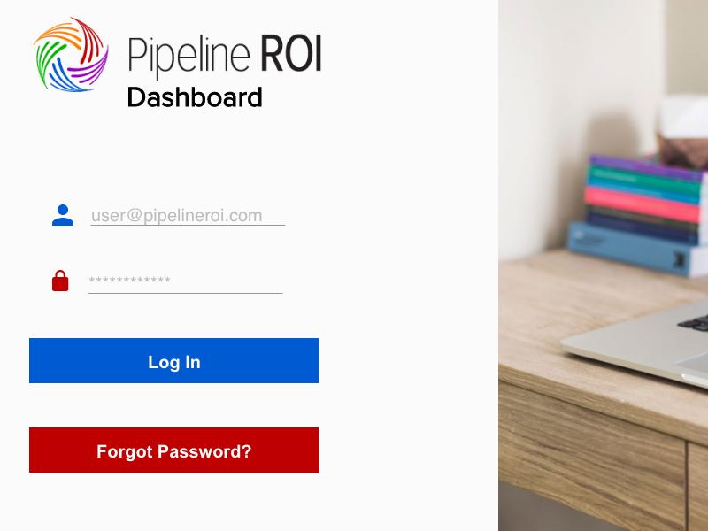 Pipeline Dashboard Login/Password ux ui panel card interface dashboard pipelineroi log in login