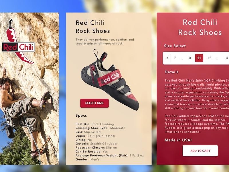 Red Chili Shoes App design application rock climb shoes app