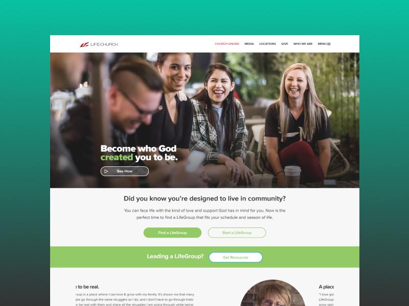 LifeGroups ui web desktop