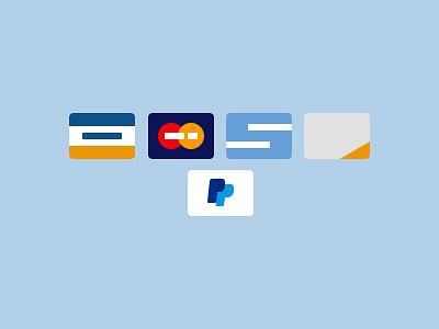 Credit Cards credit cards payment paypal visa design ui ux flat pastel commerce cards
